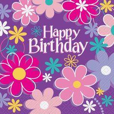 Blossoms Flowers Happy Birthday Party Napkins x 16 Party Supplies Happy Birthday Text, Happy Birthday Wishes Cards, Happy Birthday Flower, Happy Birthday Pictures, Birthday Blessings, Happy Birthday Quotes, Free Birthday Greetings, Birthday Cards Images, Garden Birthday