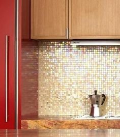 Gold back splash in kitchen