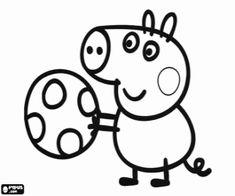 δωρεάν σχέδια για ζωγραφιές από τους χρήστες μας George Pig παίζοντας με την μπίλια