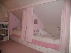 I think this is exactly what I am going to do with my daughters new bedroom. We needed to find room for beds and a play area. You can fit four beds here. Two beds and two trundles that roll out.