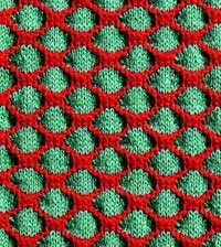 The Honeycomb Stitch from Pop Knitting by Britt-Marie Christoffersson is a wonderful way to practice your color knitting.
