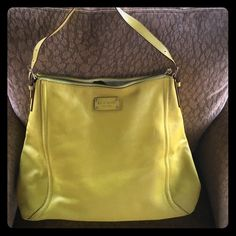 Kate Spade summer bag In good condition, one mark on the back. Beautiful bright yellow leather with black poka dots on the inside lining. kate spade Bags Totes