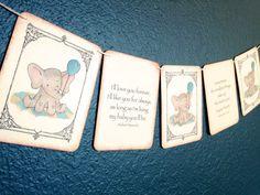Vintage Baby Shower Banner Baby Elephant by Theturningofapage