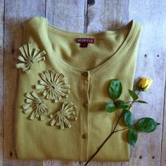 """Merona chartreuse cardi with bracelet sleeves. Perfect topper for spring and summer, this chartreuse cardigan features floral fabric decals and bracelet sleeves. In excellent condition. 26""""L. 19"""" bust laying flat. 17.5"""" sleeves. 100% cotton. Machine wash. Size Large. Merona Sweaters Cardigans"""
