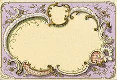 Perfect Gift/ Price Tags: Ornate French Frame Image Lilac (also come in blue and pink)