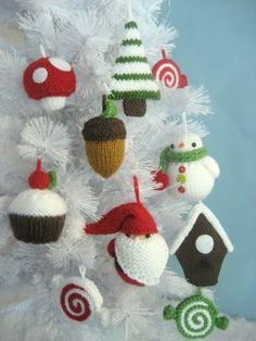 Merry Christmas!!! This PDF pattern will instruct you on how to knit my original Christmas Ornaments. Pattern includes instructions for the following knit ornaments: Santa, Pepperments, Snowman, Acorn, Tree, Birdhouse, Mushroom and Cupcake!  Measurements:(not counting hanging loops) Santa- 4 inches tall Snowman- 3.5 inches tall Peppermints- 3.5 inches wide Acorn- 3 inches long Mushroom- 2.5 inches tall Birdhouse- 5 inches tall Cupcake- 3 inches tall Tree- 5 inches tall  Materials: Worsted…