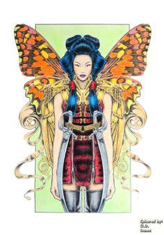Bennett Klein - CMSB Steam   Madame Butterfly   Coloured with Derwent Coloursot, Artist, Giotto Stilnovo Skin tones pencils
