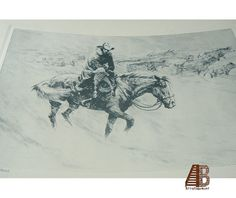 """RH Palenske """"A Helping Hand"""" Vintage Print from Etching - Brown & Bigelow Western Cowboy Cattle Drive Snowstorm epsteam"""