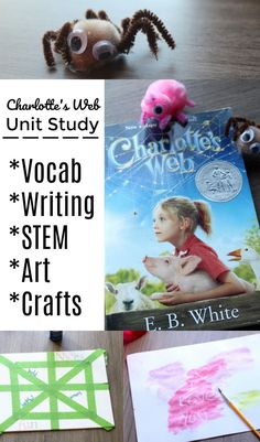 This free Charlotte's Web Unit Study includes vocabulary words, writing prompts and activities, STEM activities, art projects, crafts, and other literature related ideas. We love Charlotte & Wilbur in one of our favorite children's books! Creating hands on activities around kid's books is a great way to make the book come alive! #book #childrensbook #unitstudies #stem #crafts #art #school #education #homeschool #teachers #kidsactivities