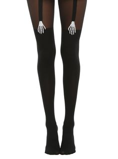 Blackheart Skeleton Hands Black Faux Thigh High Tights | Hot Topic