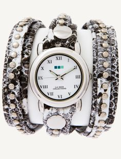 White Black Snake Silver Bali Wrap Watch | La Mer Collections' Unique Timepieces