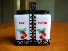 Vintage Tipp City Tall Red Cherry Salt and Pepper Shakers with Holder by RainsandCo on Etsy