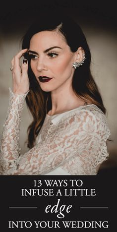 Get inspired by these dark and rich color palettes, rock 'n' roll-inspired fashions, and unexpected design choices to create an edgy wedding style | Image by Kym Ventola Photography #edgyweddinginspiration #bridalfashion #bridalstyle #bridalmakeup #bridalhairstyle