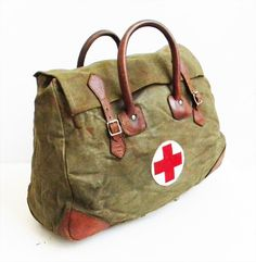 Large Antique WWII Canvas and Leather Medic Bag 1944 WEEKENDER