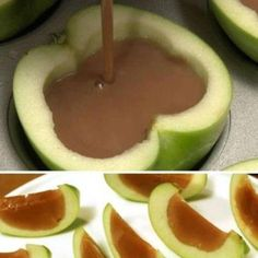 Do you love caramel apples but hate trying to eat them? Try it this way! Hollow out your apples, fill will melted caramel, let the caramel harden and cut into slices! Tips: To hollow out try our Grapefruit knife or Quik-Cut paring knife. Set Apple Halves onto muffin pan to fill and let caramel harden. Chop nuts with Food Chopper and mix into caramel before pouring. Even better!