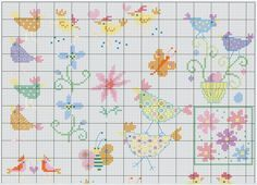 Spring flower and chicken motifs free cross stitch pattern from www.coatscrafts.pl