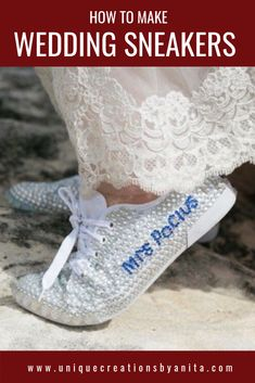 DIY wedding sneakers so you can have have happy and pretty feet on your wedding day. These wedding shoes were also personalised with her new married name. Dollar Store Crafts, Crafts To Sell, Dollar Stores, Crafts For Kids, Wedding Sneakers, Wedding Shoes, Diy Craft Projects, Project Ideas, Diy Wedding Favors