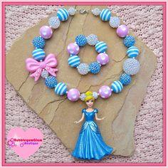 Cinderella necklace, chunky necklace, Disney Princess necklace-bracelet set, Cinderella, pink and blue necklace, bubblegum necklace