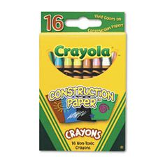 Crayola® 16 ct Construction Paper Crayons deliver consistent color across all shades and types of paper. Now kids have the perfect crayon for any project, whether using black construction paper, card-board boxes or paper bags.