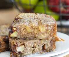 "Apple Fritter Bread has all the goodness of Apple Fritters but is a ""quick bread"" which means you can bake it instead of frying it. Apple Desserts, Apple Recipes, Just Desserts, Baking Recipes, Cake Recipes, Dessert Recipes, Bread Recipes, Sweet Recipes, Breakfast Recipes"