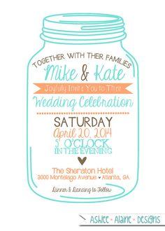 Mason Jar Wedding Invitation - 5x7 Cut Out Card.