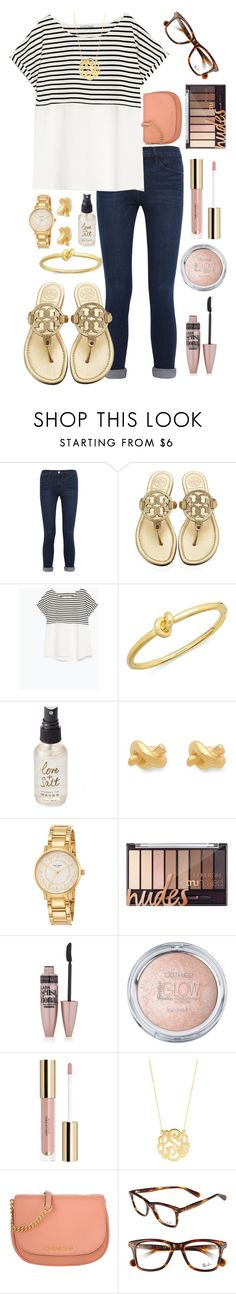 """Set 1: meeting the teacher"" by lbkatie17 ❤ liked on Polyvore featuring Frame Denim, Tory Burch, Zara, Kate Spade, Olivine, Maybelline, BaubleBar, Michael Kors, Ray-Ban and katesbtsb2k16"