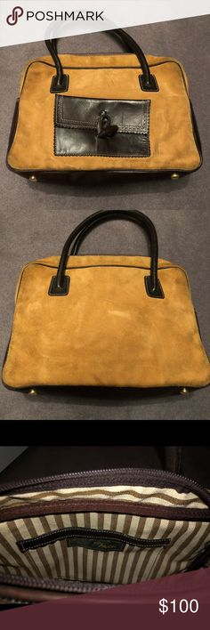 57d26cf83ac Rey Pavon Bag Dark Brown Leather and Camel Suede Satchel. Pocket on the  inside.