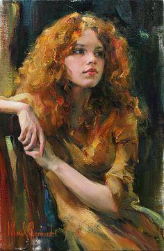 """Golden Girl"" - Michael Garmash, oil on canvas {contemporary figurative #impressionist artist beautiful female redhead woman face portrait painting} Demure!!"
