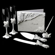 Enchanting Butterfly Matching Guest Book Pen Flute & Cake Server Set--I will definitely want this