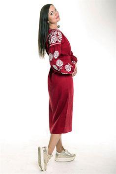 Вишита лляна сукня - бордова (010) 9e6af92ceb19e