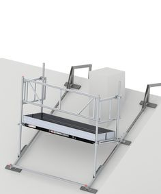 Chimney scaffold Work platform for safely working on chimneys Wooden Scaffolding, Ladder Accessories, Roofing Tools, Bed Frame Design, Steel Frame House, House On Stilts, 3d Modelle, Roof Trusses, Metal Working Tools