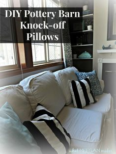 Stunning DIY's inspired by Pottery Barn Idea Box by Alaya : diy pottery barn knockoff pillows, crafts, home decor, living room ideas, She found the black striped fabric at IKEA for 7 99 a yard We were able to make 2 pillows for that price Amazing Gold Pillows, Diy Pillows, Pillow Ideas, Throw Pillows, Kids Boy, Ikea, Cheap Decorative Pillows, Living Room Decor Pillows, Living Rooms