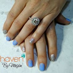 Periwinkle, glitz and glam. Nails done at HAVEN in Denver, CO