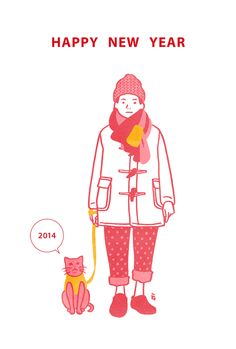 Happy new year 2014 ① Japanese Illustration, People Illustration, Flat Illustration, Graphic Design Illustration, Happy New Year Photo, Happy New Year 2014, Photocollage, Illustrations And Posters, Drawing For Kids
