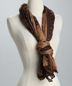 Take a look at this Brown Stamp Scarf by Rapti on #zulily today!