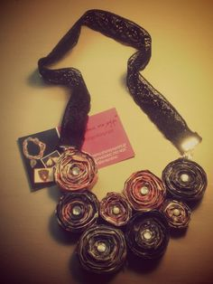 Handmade necklace made from magazine pages and decorated with pearls and strass Working time 5 hours