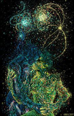 Com sua arte, o americano James R. Eads nos convida a embarcar num mundo psicodélico e muito afetivo, meditativo e reflexivo – e tem pôsteres de bandas!