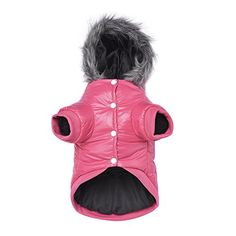 """PETLESO Dog Coat Puppy Hoodie Clothes With Pocket Doggie Jacket Snowsuit Pink S- Neck:11"""" Chest:10"""" Back Length:7"""" Recommend:2-5 lbs ** More info could be found at the image url. #DogHoodies"""