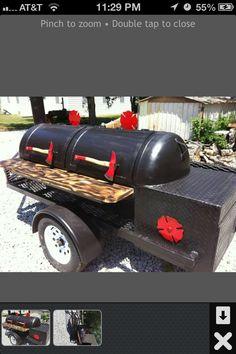 Firefighter themed smoker trailer Diy Smoker, Homemade Smoker, Barbecue Pit, Bbq Grill, Bar B Que Grills, Custom Smokers, Bbq Stand, Bbq Smoker Trailer, Barrel Smoker