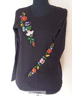 Janka hímzett póló, fekete Sweatshirts, Blouse, Long Sleeve, Sleeves, Sweaters, Tops, Women, Fashion, Moda