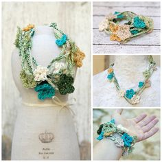 blue green flowers necklace