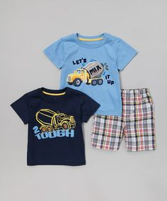 Look at this #zulilyfind! Navy Truck '2 Tough' Tee Set - Toddler by Watch Me Grow #zulilyfinds $9.99
