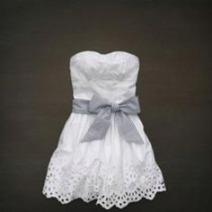 White sundress as wedding dress....oh la la cute, change the bow color and make it a lil longer......hmmm