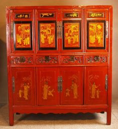 Furniture. Chinese Interior Furniture for Contemporary Residence in Shanghai: Awesome Antique Asian Furniture Design With Combination Golden Also Red Colour And Decorated With Images Of Classic China Ideas ~ wegli