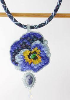 Pendant handmade Beaded beadwork Embroidered Pendant with embroidery Pendant with sodalite Necklace with flower viola Pendant with gemstone