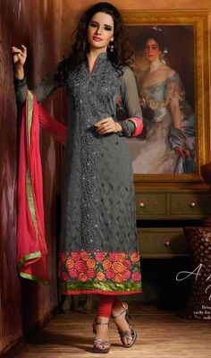 Spell royalty like as you sway around wearing this gray embroidered georgette churidar kameez. This stunning dress is displaying some unbelievable embroidery done with floral patch, lace, resham and stones work. #StylishLookGrayShadesStraightCutDress