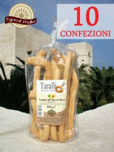 10 CONFEZIONI DI TARALLI PUGLIESI ALL'OLIO CLASSICI FATTI A MANO 400 gr.