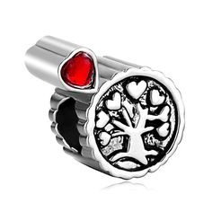 Bead Heart Charm Bracelet Tree Life Awesome Red Crystal Love European Bead Fit All Brands For DIY Bracelets & Bangles CBA167