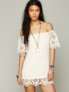 Free People Off The Shoulder Truth Dress, $256.00  feels like that little vintage dress i found on the cute girl at my surf break