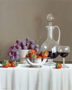 Grapes, Strawberries and Wine Decanter, oil on panel, by Tony de Wolf at Thompson's Gallery Fruit Photography, Still Life Photography, Underwater Photography, White Photography, Family Photography, Landscape Photography, Travel Photography, Wedding Photography, Still Life Photos